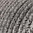 Rund tekstilledning i Sort Onyx Tweed bomuld, hør og glimmer finish - RS81