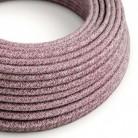 Rund tekstilledning i bordeaux Tweed bomuld, hør og glimmer finish - RS83