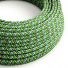 Rund tekstilledning i viskose - RX05 Pixel-grøn