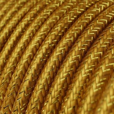 Rund glinsende tekstilledning i viskose - RL05 Guld