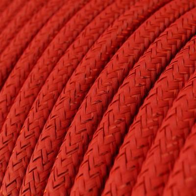 Rund glinsende tekstilledning i viskose - RL09 Rød