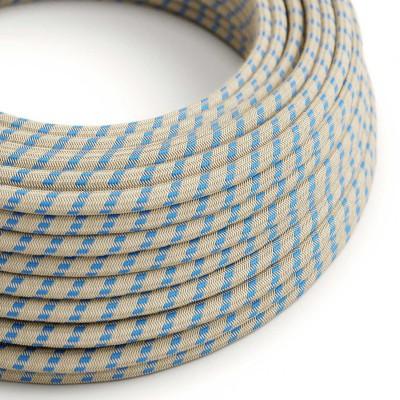 Rund tekstilledning i Stewardblå Striber bomuld og hør - RD55