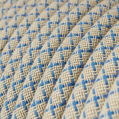 Rund tekstilledning i Stewardblå Lozenge bomuld og hør - RD65