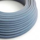 Rund tekstilledning i Stewardblå ZigZag bomuld og hør - RD75