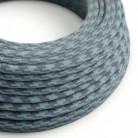 Rund tekstilledning i bomuld - Tofarvet Stengrå og Hav RP25