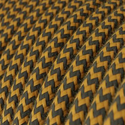 Rund tekstilledning i bomuld - ZigZag Gylden Honning og Antracit RZ27