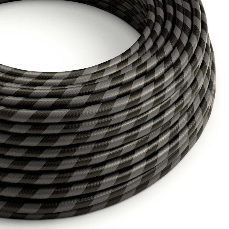 Rund stofledning Vertigo HD i bredt-stribet Grafitgrå og Sort, ERM54