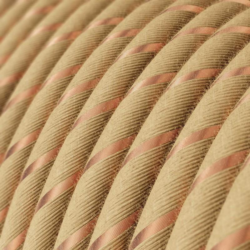Rund stofledning Vertigo i jute med kobbertråd, ERR04