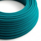 Round Electric Cable covered by Cotton solid color fabric RC21 Cerulean