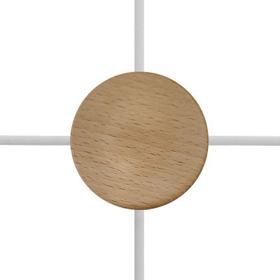 Mini cylindrical wooden 4-side- hole ceiling rose kit (junction box)