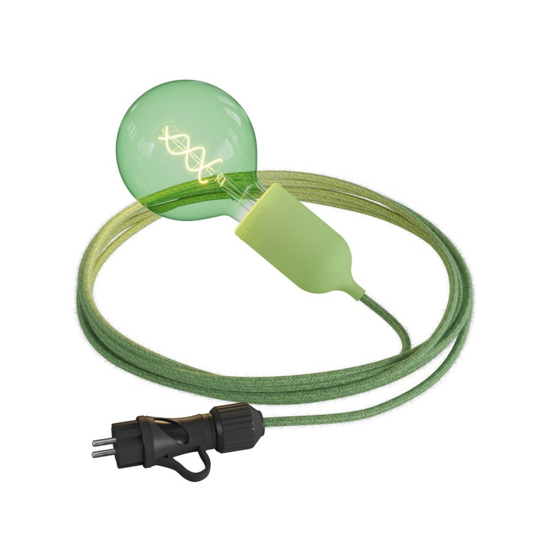 Eiva Snake Pastel, portable outdoor lamp, 5 m textile cable, IP65 waterproof lamp holder and plug