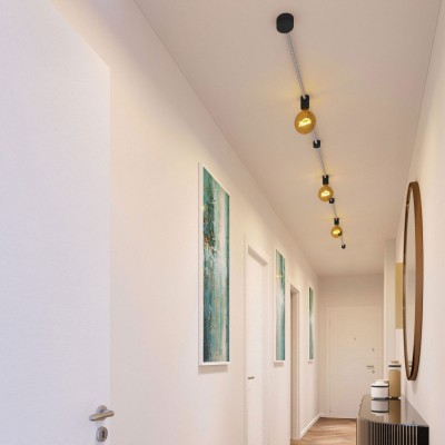 Filé System Linear Kit - with 5m string light cable and 7 indoor black varnished wooden components