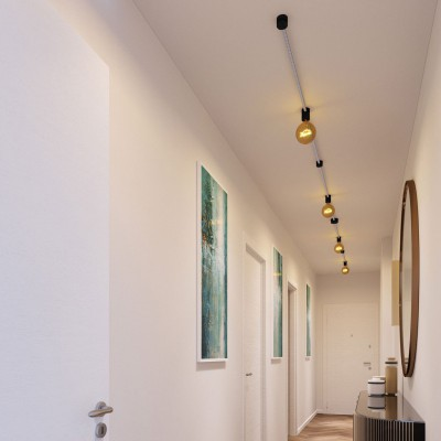 Filé System Symmetric Kit - with 5m string light cable and 9 indoor black varnished wooden components