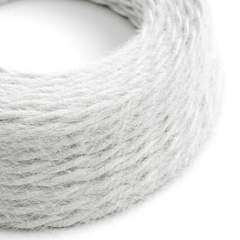 Marlene twisted lighting cable covered in hairy-effect fabric Plain White TP01
