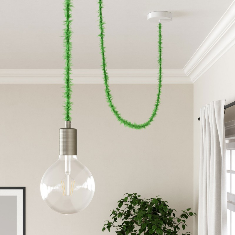 Marlene twisted lighting cable covered in hairy-effect fabric Plain Green TP06