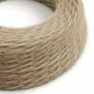 Marlene twisted lighting cable covered in hairy-effect fabric Plain Khaki TP13