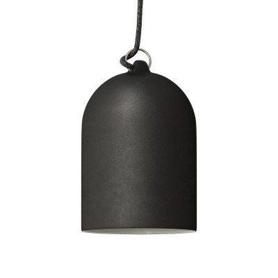 Pendant lamp with textile cable and lampshade Mini Bell XS ceramic shade - Made in Italy