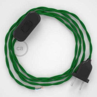 Ledningssæt, TM06 Grøn Viskose 1,80 m. Vælg farve på kontakt og stik.