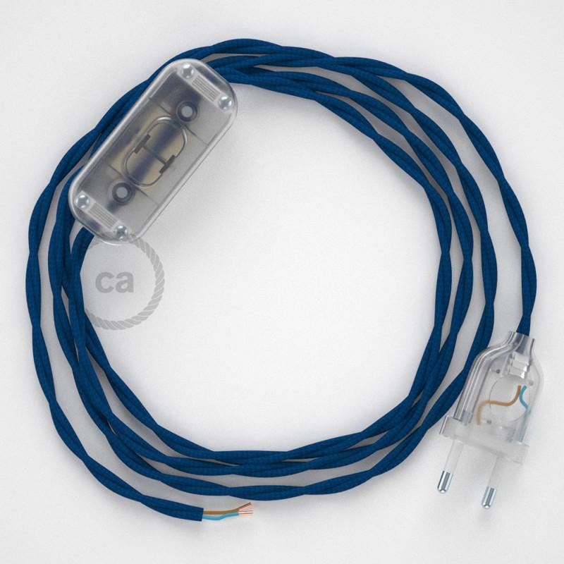 Ledningssæt, TM12 Blå Viskose 1,80 m. Vælg farve på kontakt og stik.