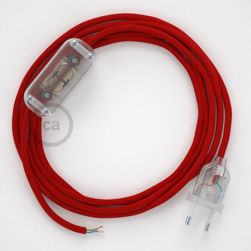 Ledningssæt, RM09 Rød Viskose 1,80 m. Vælg farve på kontakt og stik.