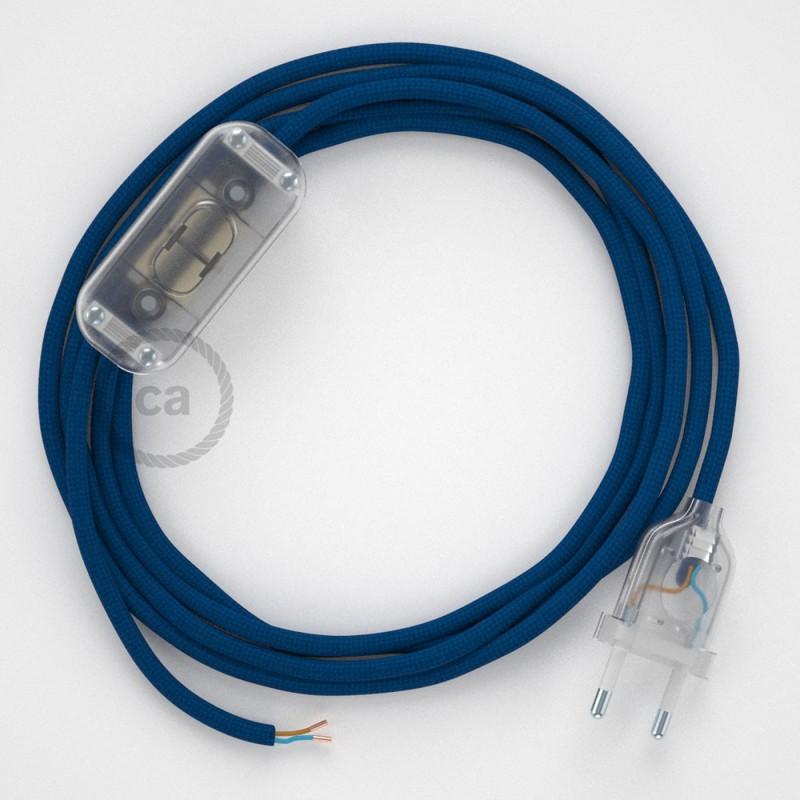 Ledningssæt, RM12 Blå Viskose 1,80 m. Vælg farve på kontakt og stik.