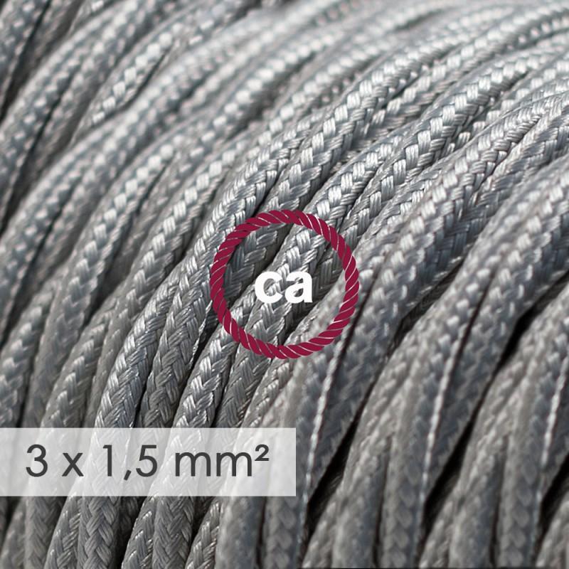 Kraftig ledning 3x1,50 snoet - beklædt med Viskose Sølv TM02