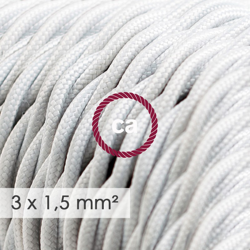 Kraftig ledning 3x1,50 snoet - beklædt med Viskose Hvid TM01