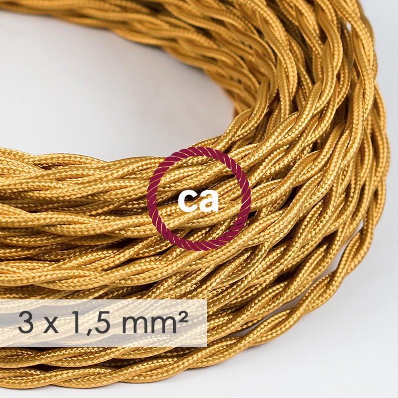 Kraftig ledning 3x1,50 snoet - beklædt med Viskose Guld TM05