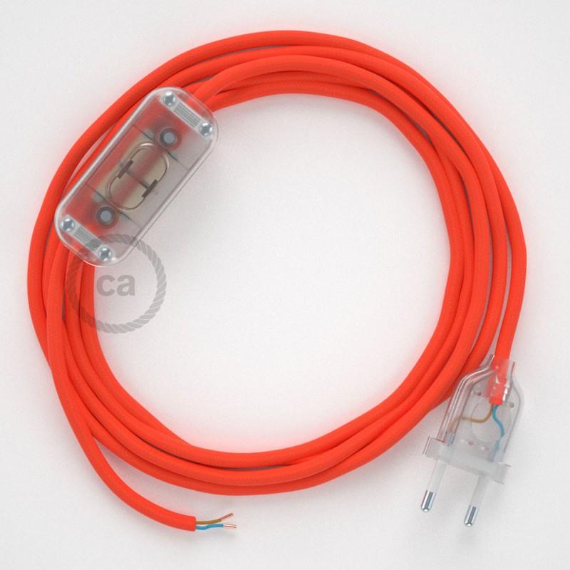 Ledningssæt, RF15 Neon Orange Viskose 1,80 m. Vælg farve på kontakt og stik.