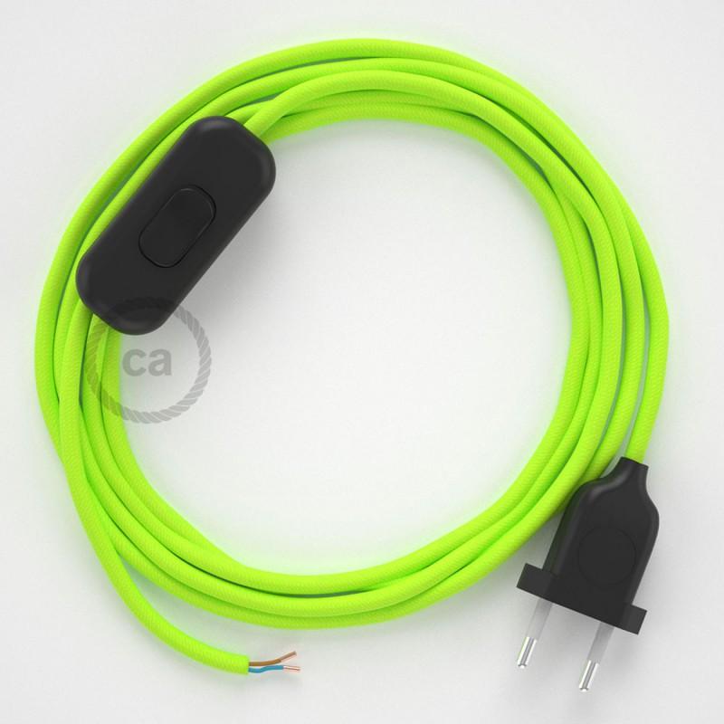 Ledningssæt, RF10 Neon Gul Viskose 1,80 m. Vælg farve på kontakt og stik.