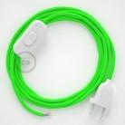 Ledningssæt, RF06 Neon Grøn Viskose 1,80 m. Vælg farve på kontakt og stik.