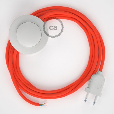 Ledningssæt med fodkontakt, RF15 Neonorange viskose 3 m. Vælg farve på kontakt og stik.