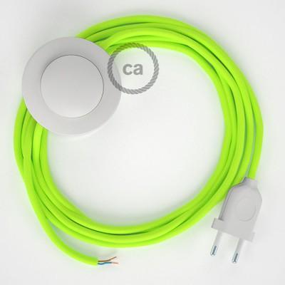 Ledningssæt med fodkontakt, RF10 Neongul viskose 3 m. Vælg farve på kontakt og stik.