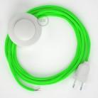 Ledningssæt med fodkontakt, RF06 Neongrøn viskose 3 m. Vælg farve på kontakt og stik.