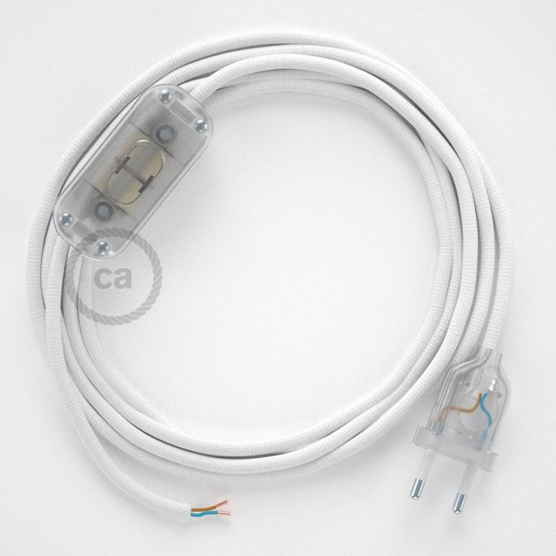 Ledningssæt, RM01 Hvid Viskose 1,80 m. Vælg farve på kontakt og stik.