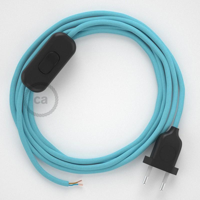 Ledningssæt, RM17 Baby Blå Viskose 1,80 m. Vælg farve på kontakt og stik.