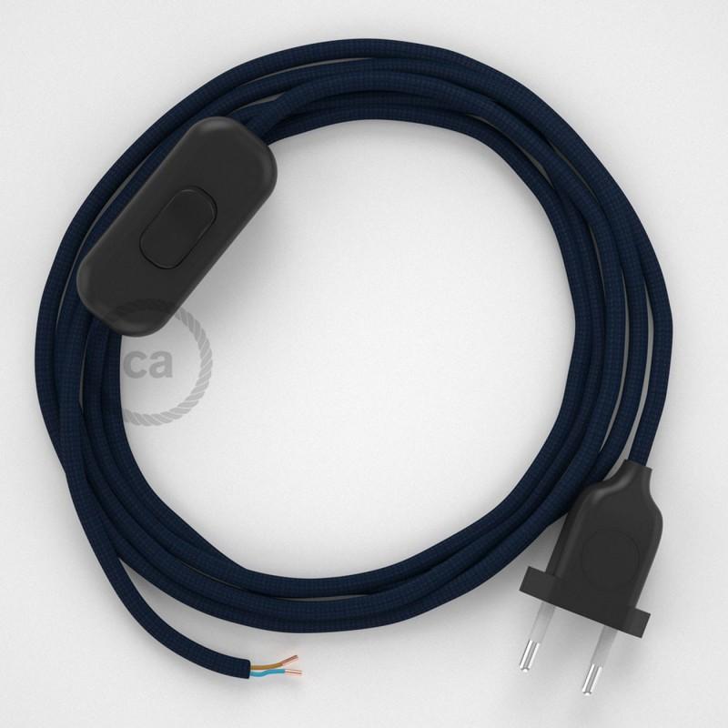 Ledningssæt, RM20 Mørkeblå Viskose 1,80 m. Vælg farve på kontakt og stik.