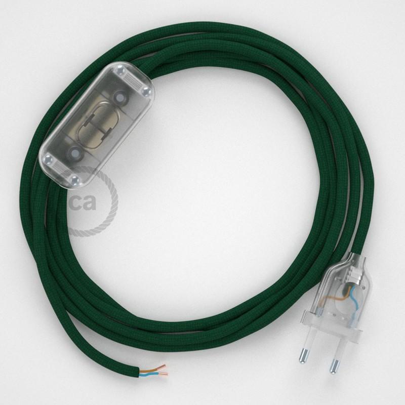 Ledningssæt, RM21 Mørkegrøn Viskose 1,80 m. Vælg farve på kontakt og stik.