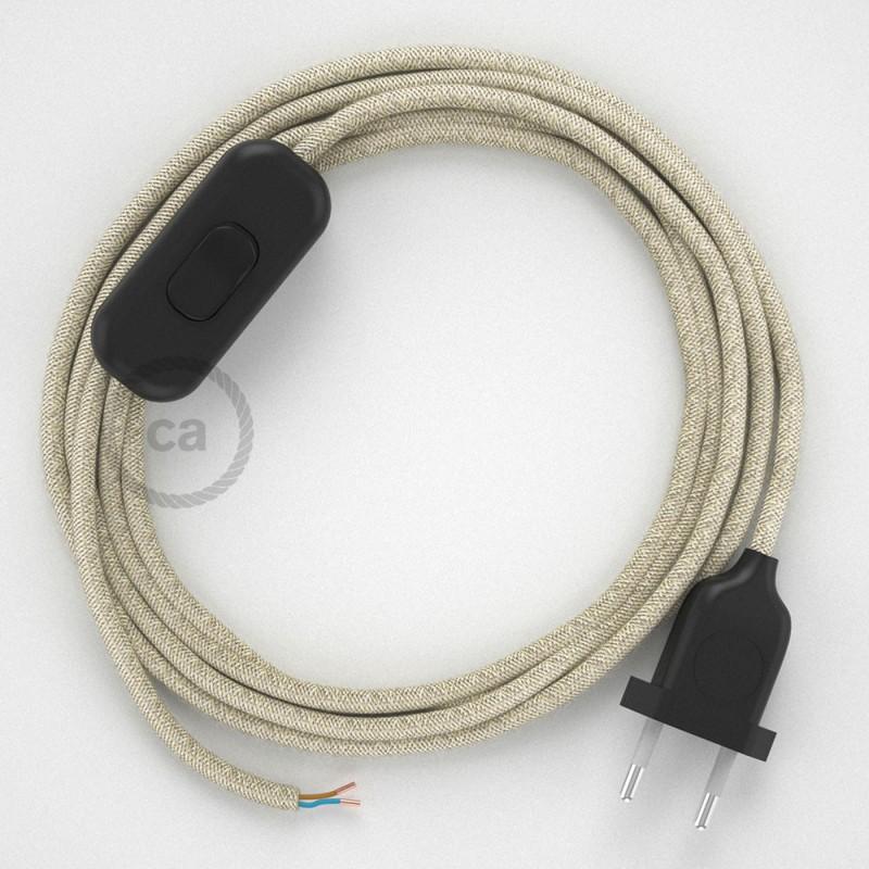 Ledningssæt, RN01 Naturlig neutral hør 1,80 m. Vælg farve på kontakt og stik.