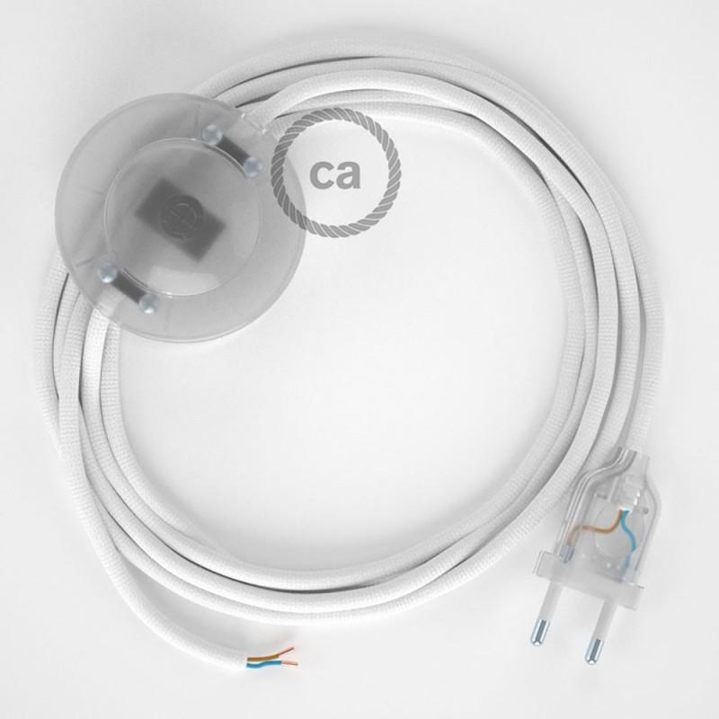 Ledningssæt med fodkontakt, RM01 Hvid viskose 3 m. Vælg farve på kontakt og stik.
