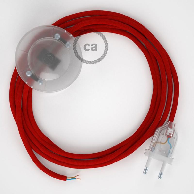 Ledningssæt med fodkontakt, RM09 Rød viskose 3 m. Vælg farve på kontakt og stik.