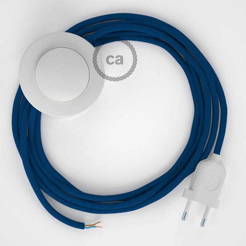 Ledningssæt med fodkontakt, RM12 Blå viskose 3 m. Vælg farve på kontakt og stik.