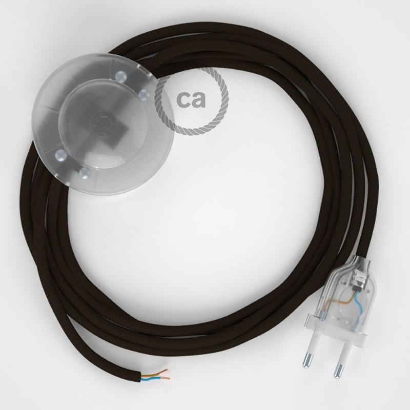 Ledningssæt med fodkontakt, RM13 Brun viskose 3 m. Vælg farve på kontakt og stik.