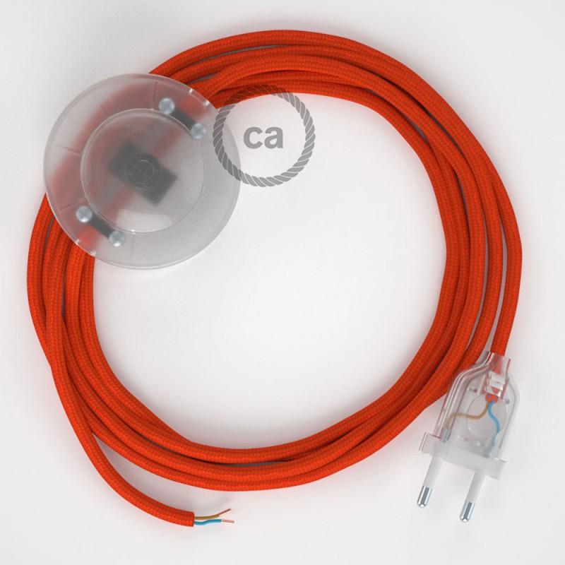 Ledningssæt med fodkontakt, RM15 Orange viskose 3 m. Vælg farve på kontakt og stik.
