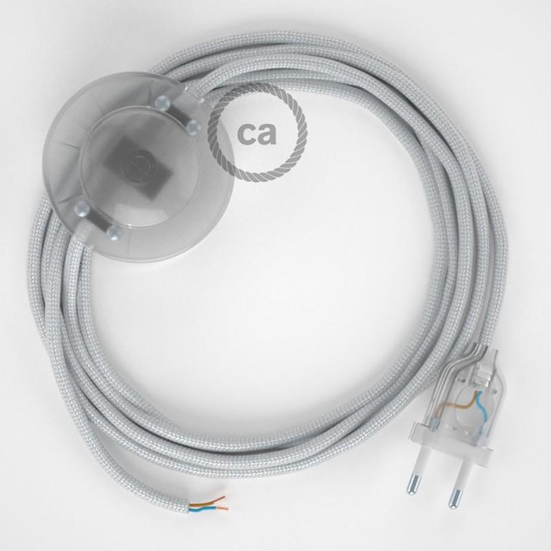 Ledningssæt med fodkontakt, RM02 Sølv viskose 3 m. Vælg farve på kontakt og stik.