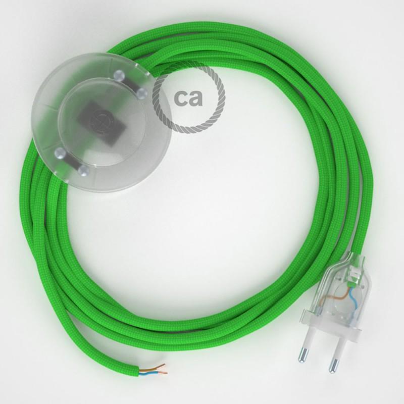 Ledningssæt med fodkontakt, RM18 Limegrøn viskose 3 m. Vælg farve på kontakt og stik.