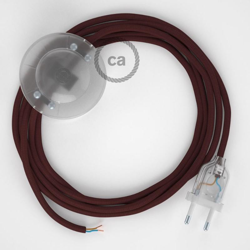Ledningssæt med fodkontakt, RM19 Bordeaux viskose 3 m. Vælg farve på kontakt og stik.