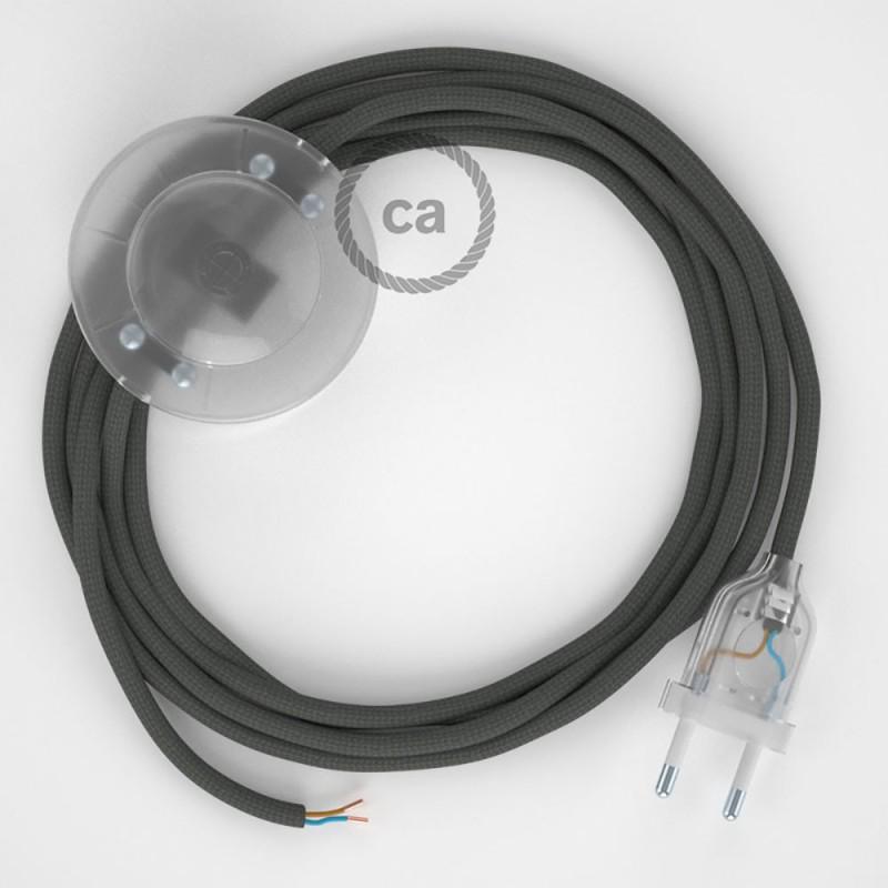 Ledningssæt med fodkontakt, RM03 Grå viskose 3 m. Vælg farve på kontakt og stik.