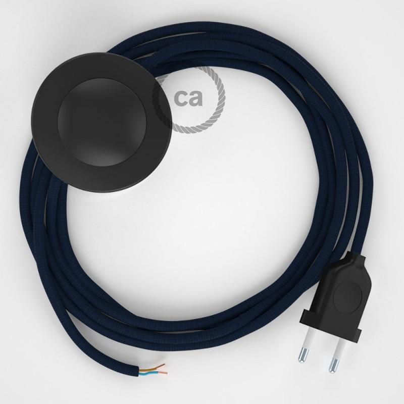 Ledningssæt med fodkontakt, RM20 Mørkeblå viskose 3 m. Vælg farve på kontakt og stik.