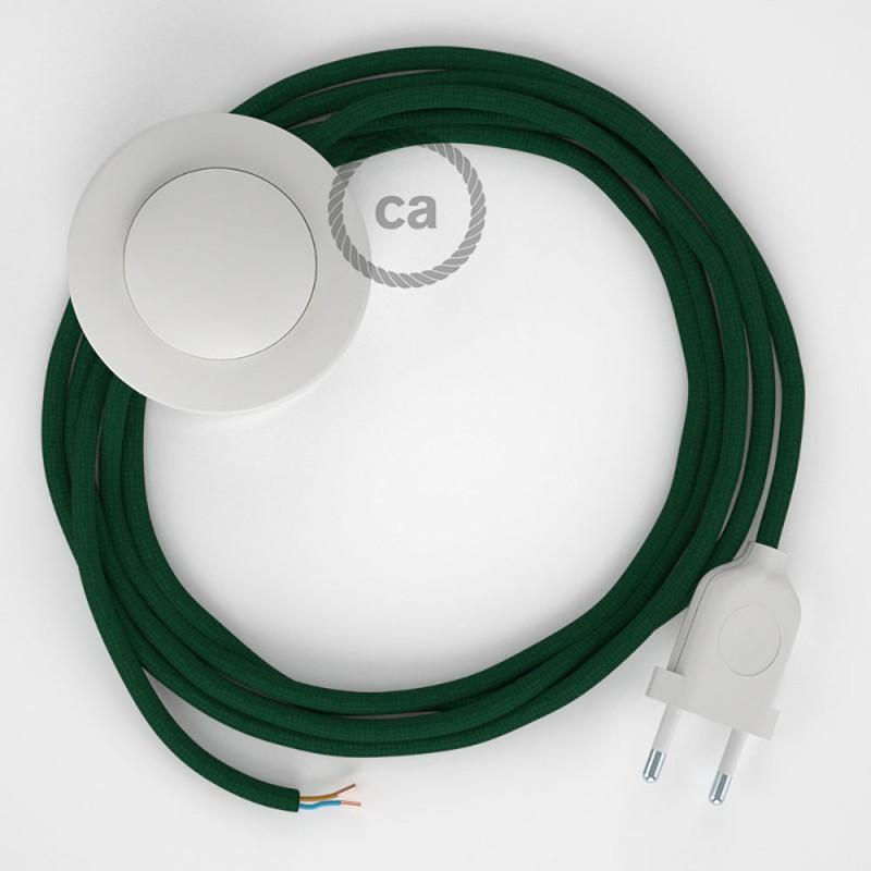 Ledningssæt med fodkontakt, RM21 Mørkegrøn viskose 3 m. Vælg farve på kontakt og stik.